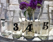 CUSTOM Rustic Wedding Recycled Glass Vases Wedding Table Numbers Wedding Table Markers YOU PICK Font & Color Set of 6