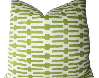 Decorative Designer Annie Selke Links, Geometric Ikat, Key, Lime Green,  Pillow Cover, 18x18, 20x20, 22x22 and lumbar, throw Pillow