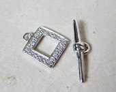10mm Bright Sterling Silver Square Toggle Clasp with Cubic Zirconia Vintage Style