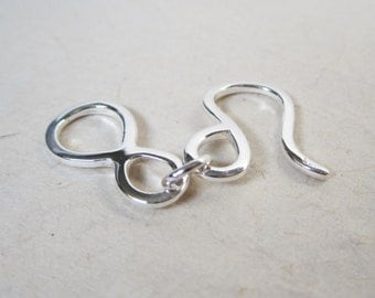 Medium Sterling Silver Hook and Eye Clasp