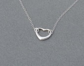 Silver Heart necklace- sterling silver chain- Bridesmaid,bestfriend,Wife,Girlfriend, Mothers Gift-simple,delicate,everyday wear