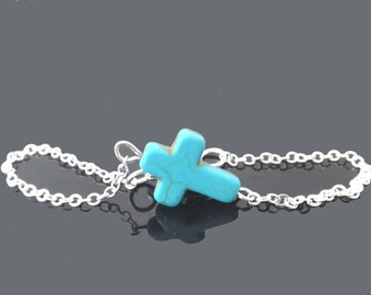 sideways cross bracelet or sideways cross necklace - turquoise and silver