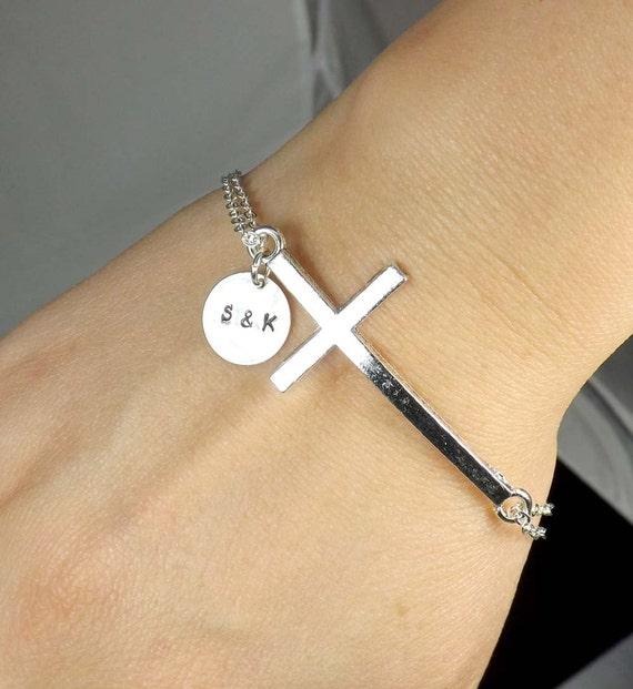 Customized Charm Bracelet: Personalized Cross Bracelet Cross Charm Bracelet