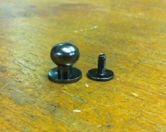 10 Button Studs Large Gun Metal