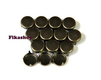 6mm 100pcs Brass flat head round studs / HIGH Quality -  Fikashop