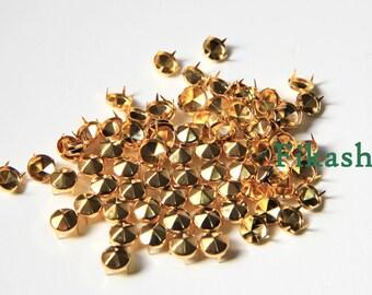 8mm 100pcs Gold conical hexagon studs / HIGH Quality - Fikashop