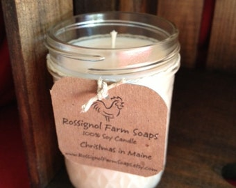Christmas in Maine Soy Candle in 8oz Jelly Jar