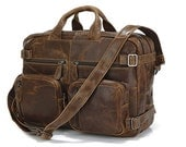 Functional LARGE Leather Briefcase / Backpack in Vintage Oil Brown
