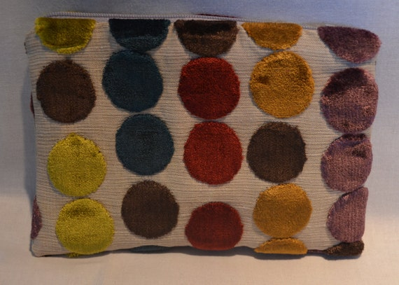 Makeup Purse - Modern Dot Cut Velvet in Gold, Orange, Purple, Red, Brown and Blue/Green with Grey Zipper.