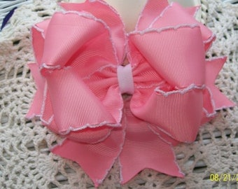 Pink Moonstitch Hair Bow...Pink and White Hair Bow....Girls Hair Bow....Toddler Hair Bow