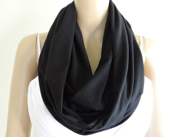 Black Circle Scarf. Infinity Scarf. Loop Scarf. Soft Cotton Scarf