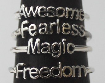 15% QUANTITY DISCOUNT if you buy 4 pc. Intention rings of your choice, 925 Sterling silver rings with Inspirational Poetic words and Symbols