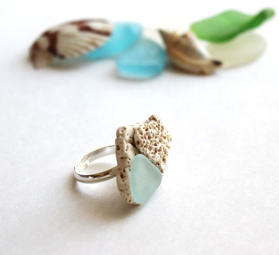 Seaglass and Seashell Ring  - White & Light Blue - Layered