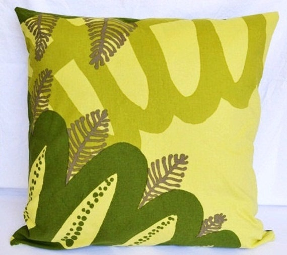 Marimekko Siipi Fabric Pillow Cover with Zipper in Pale Green and Dark Olive will fit 20x20 Pillow Form