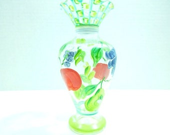 Vintage Hand Painted Glass Vase. Decorated with Apples and Grapes.French Country. Garden Motif. Bud Vase