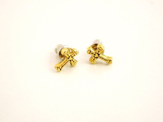 Gold Plated Cross Earrings-Children's Jewelry-Baptism, Graduation or Confirmation Gift