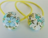 Fabric Button ponytail holders - set of 2
