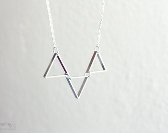 triad - silver triangle necklace - minimalist geometric jewelry/gift for her under 20usd