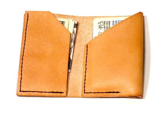 Bifold Front Pocket Card Wallet. Leather. Tan. Thin and Rugged. Man-Made in Texas