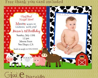 Barnyard  Birthday Invitation - FREE thank you card included