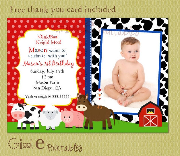 barnyard birthday invitation free thank you card included, Birthday invitations