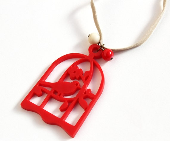 SALE - Red lasercut acrylic birdcage necklace bird gift for her best friend birthday
