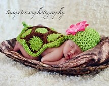 Turtle Set Animal Newborn Photo Prop Green and Brown Hat and Cape