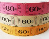 50 Vintage Tickets - Pick Your Combo - Pink, Yellow, and/or Light Green 60-Cent Carnival Raffle Tickets - Small Paper Ephemera
