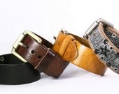 Genuine Leather Belt Style Cuff. Simple Plain Wide Bracelet Single Buckle Buckled Thick Band Belt Extra Wide B003-PL