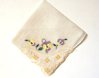 Embroidered Linen Handkerchief Lace Yellow Purple Beige  Vintage Hankie with Three Embroidered  Pull Tread Edge - State Sale