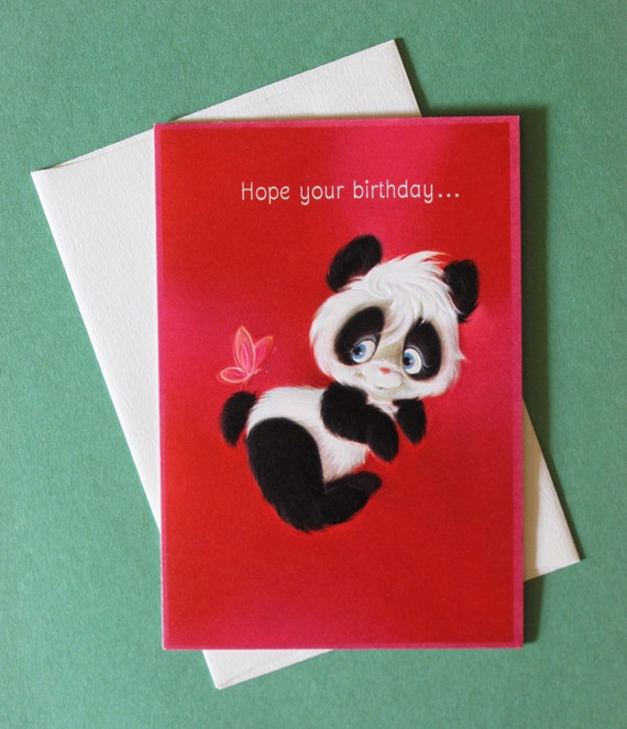 Vintage Hallmark BIRTHDAY Greeting Card PANDA Bear 1960s