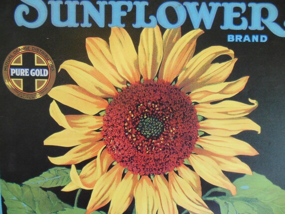 SUNFLOWER  Metal Sign... Orange Crate Sign... Label Art... Americana... Garden Art
