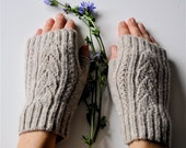 Lace  Fingerless Gloves, Oatmeal, Gray, Made To Order