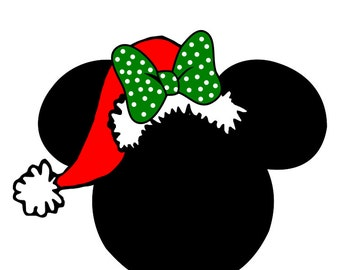 Custom Personalized Minnie Santa Hat Iron on Transfer Decal(iron on transfer, not digital download)