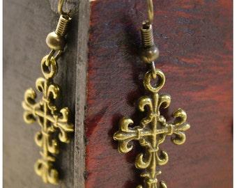 Cross Earrings/ Cross Antiqued Bronze Colored Dangle Earrings by Watto's Wife / Antique Bronze Earrings / Victorian/ Religious Jewelry