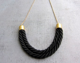 Long Thread Necklace. Silk rope necklace. Minimalist jewelry.