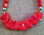 RED VINTAGE NECKLACE Christmas Holiday Faceted Glass Fun 20""
