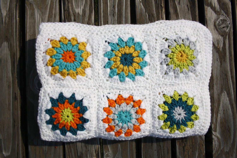 crochet baby blanket sunburst granny square modern baby - 🔎zoom