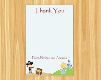Pirate and Princess Thank You Card | Boy Pirate Party | Pirate Party | Princess Party | Thank You Card