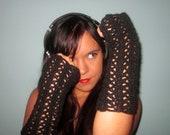 Midnight Black Crochet Glitter Arm Warmers