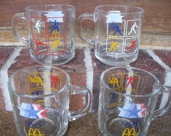Vintage McDonalds 1984 Olympic mugs set of 4 Los Angeles LA collectible