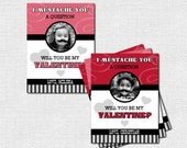 MUSTACHE VALENTINE CARDS Valentine's Day Classroom Party - (print your own) Personalized Photo Printable
