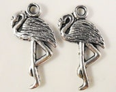 Silver Flamingo Charms 24x11mm Antique Silver Tone Metal Double Sided Bird Charm Pendant Lead Free Jewelry Findings 10pcs