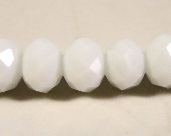"""Crystal Rondelle Beads 8x6mm (6x8mm) Opaque Porcelain White Crystal Beads Faceted Chinese Crystal Beads on an 8 1/4"""" Strand with 35 Beads"""