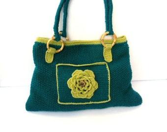 Sac à main tricoté, sac à bandoulière bleu sarcelle et vert citron
