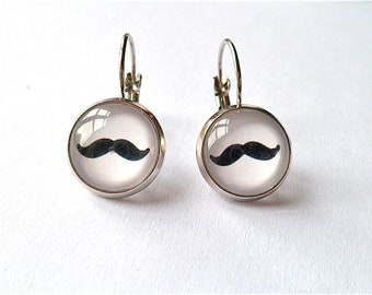 mustache earrings, movember,  silver dangle or post
