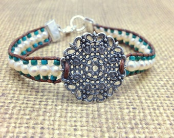 Hand Woven Leather, Turquouse and Freshwater Pearl Bracelet with Silver Filigree Piece
