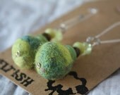 Hand Felted ball earrings, bright lime green shades with kidney wire hooks, beads added...