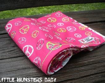 New Girly Peace & Guitars Rock Baby Blanket