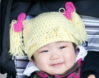 Cabbage Patch Kids Hat, Blond hair pigtails hat, Crochet Baby Hat, photo prop, yellow, Inspired by Cabbage Patch Kids